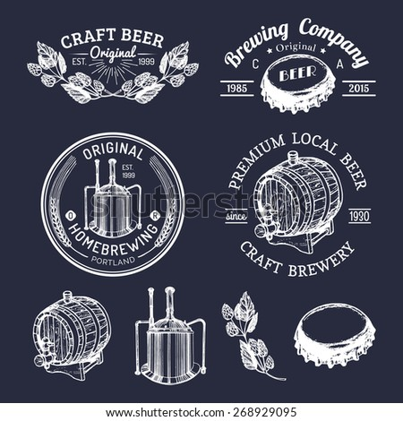 Vector set of vintage brewery logo. Retro logotypes collection of beer elements - stock vector