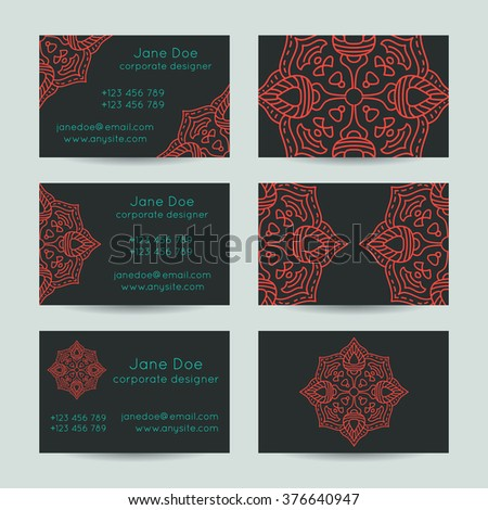 Vector set vintage business card template stock vector hd royalty vector set of vintage business card template designs mandala reheart Images