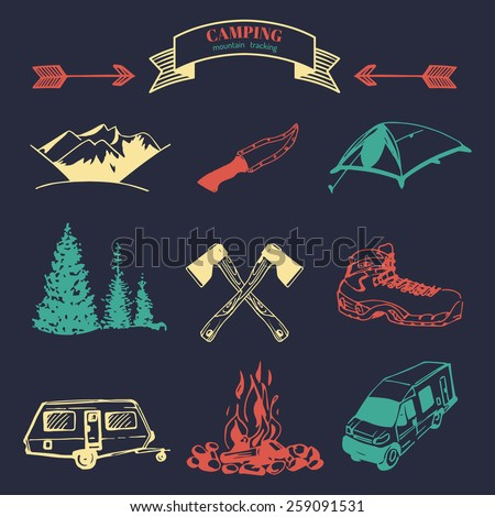 Vector set of vintage camping logo elements. Retro collection of outdoor adventures icons - stock vector