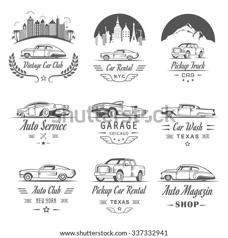 Vector Set Vintage Car Symbols Sign Stock Vector 337332941