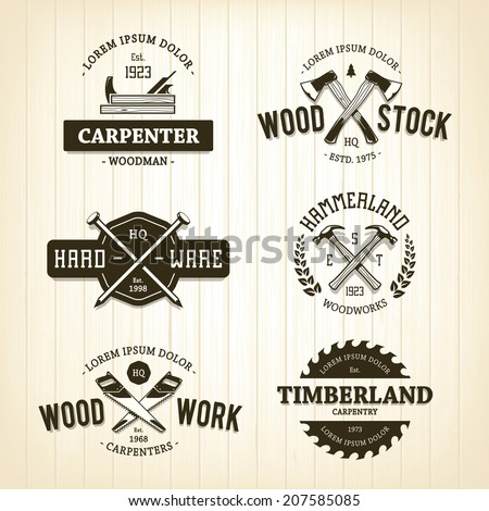 Vector set of vintage carpentry emblems.  - stock vector