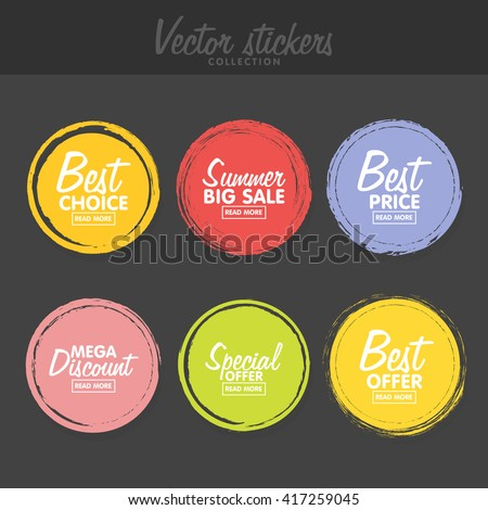 Vector set of vintage colorful  labels for greetings and promotion. Premium Quality Guarantee, Bestseller, Best Choice, Sale, Special Offer. Banners and sticker. Retro painting design.  - stock vector