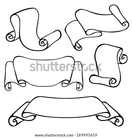 Vector Set of Vintage Contour Scrolls in Different Forms - stock vector