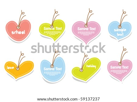 Vector set of vintage cute frames in heart shape - stock vector