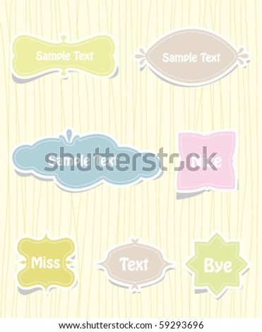 Vector set of vintage cute frames in water drop shape - stock vector