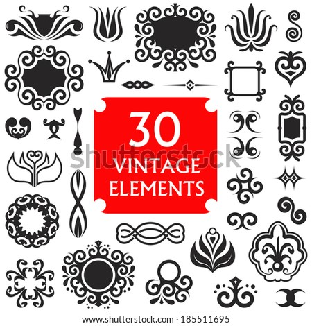 Vector set of vintage decorative elements. Black and white items for label design in retro style.  - stock vector