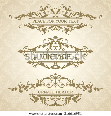 Vector set of vintage elegant decorative ornamental page decoration headers frames borders calligraphic design elements for invitation, congratulation, greeting card, menu, certificate