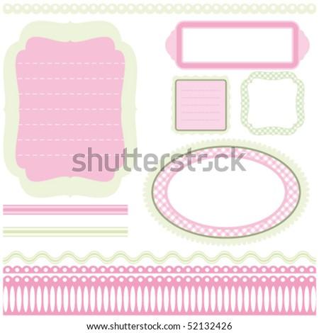"Vector Set of vintage elements for design. Collection ""for Mom"". Frames. - stock vector"