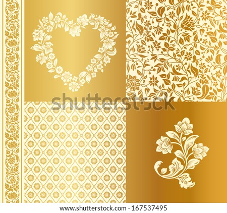 Vector set of vintage elements for design. Two seamless pattern heart shaped frame with silhouettes of flowers and seamless stylized flower border. Beige and gold. - stock vector