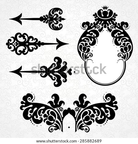 Vector set of vintage elements in Victorian style. Black arrows, vignette and frame. Ornate decor for design. Ornamental patterns for invitations, birthday and greeting cards. Traditional decor. - stock vector