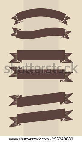 Vector set of vintage engraved banners in brown and beige colors  - stock vector