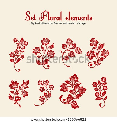 Vector set of vintage floral elements. Eight red stylized silhouettes of branches with flowers and berries on a beige background. - stock vector