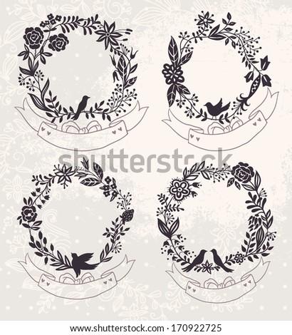 vector set of vintage floral frames  - stock vector