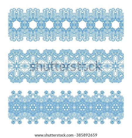 Vector set of vintage floral lace seamless elements for design, print, embroidery. - stock vector