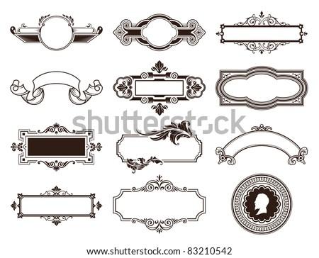 Vector set of vintage frames. - stock vector