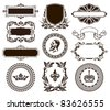 Vector set of vintage frames and elements. - stock vector