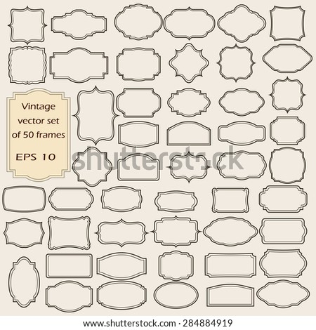 Vector set of  Vintage frames, blank retro badges and labels. Illustration eps10 - stock vector