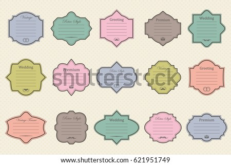 Vector set of vintage frames on retro background
