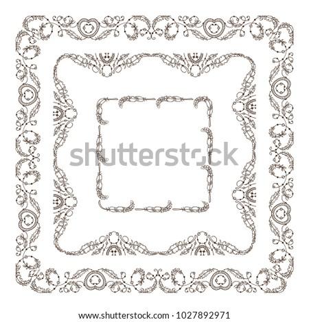 Vector Set Vintage Frames Boho Ethnic Stock Vector 1027892971 ...