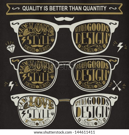 Vector set of vintage glasses. - stock vector