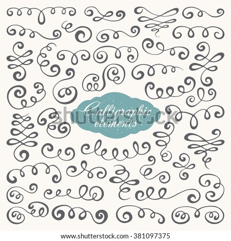 Vector set of vintage hand drawn decorative calligraphic design elements  - stock vector