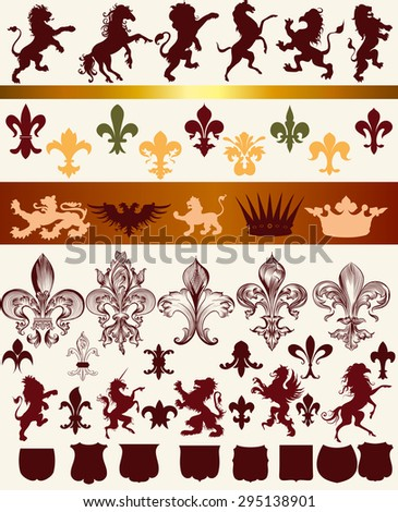 Vector set of vintage heraldic elements for design - stock vector