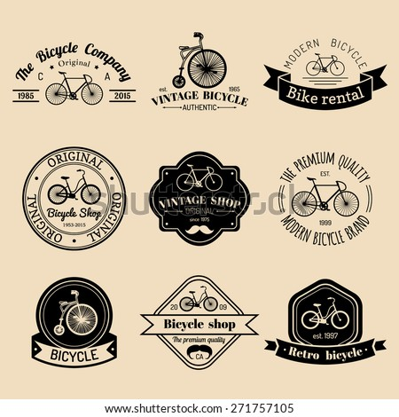 Vector set of vintage hipster bicycle logo. Modern bicycle logotypes collection - stock vector