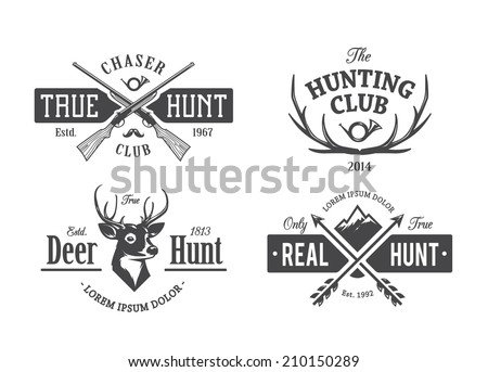 Vector set of vintage hunting emblems. - stock vector
