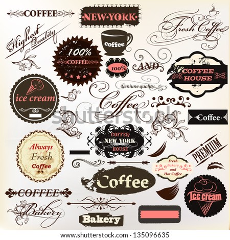 Vector set of vintage labels for cafe and coffee house design - stock vector