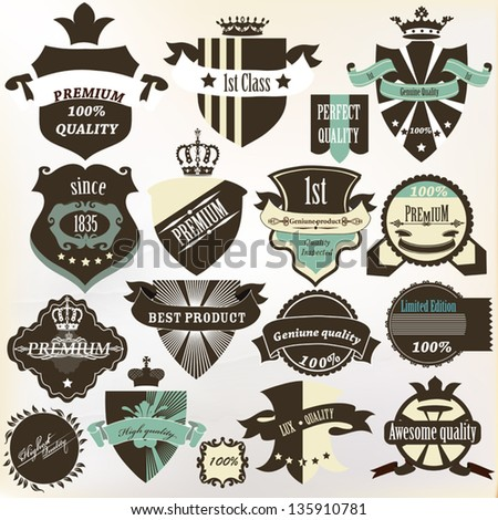 Vector set of vintage labels premium, best, high and genuine quality for design - stock vector
