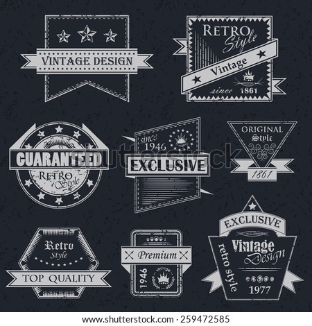 Vector set of vintage labels. Retro labels. Vintage labels collection. Vintage styled signs. Grunge design       - stock vector