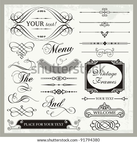Vector set of vintage ornamental and page decoration calligraphic designs. - stock vector