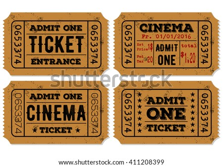 Vector set of vintage paper admit one and ticket samples icon - stock vector