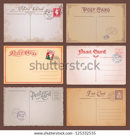 Vector set of vintage postcards with stamps - stock vector