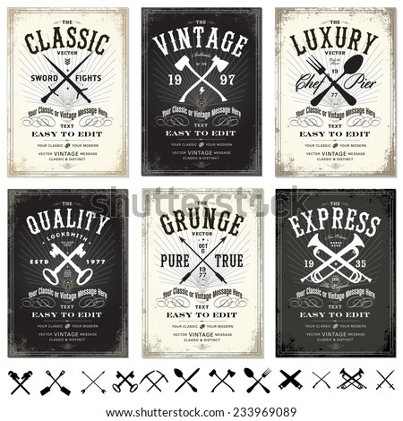 Vector Set of Vintage Posters. Easy to edit. - stock vector