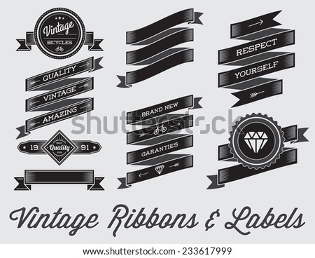 Vector Set of Vintage Retro Style Premium Design Labels and Ribbons Black and White - stock vector