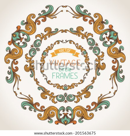 Vector set of vintage round frames. Decorative elements on light paper background for your design. There is place for your text in the center. - stock vector