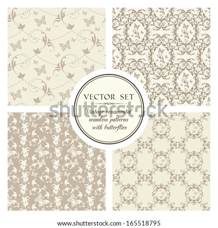 Vector set of vintage seamless ornamental patterns with butterflies - stock vector