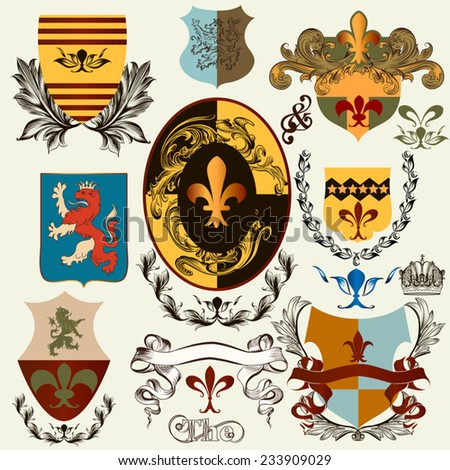 Vector set of vintage shields elements for your heraldic design - stock vector