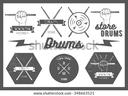 Vector set of vintage style drums labels, emblems and logo. Music design elements drum, drumsticks, hand, snare. Lettering and typography.  - stock vector
