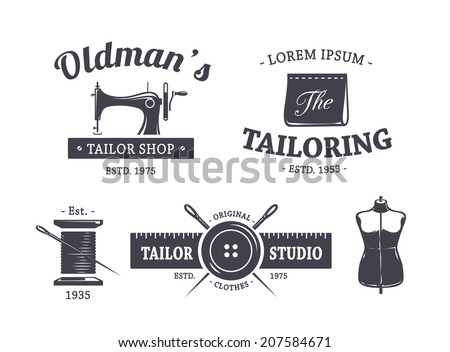 Vector set of vintage tailor emblems. - stock vector