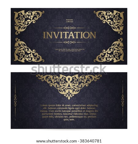 Vector set of vintage template ornamental gold design elements and patterned background. Elegant lace wedding invitation design, Greeting Card, banner in classic style - stock vector