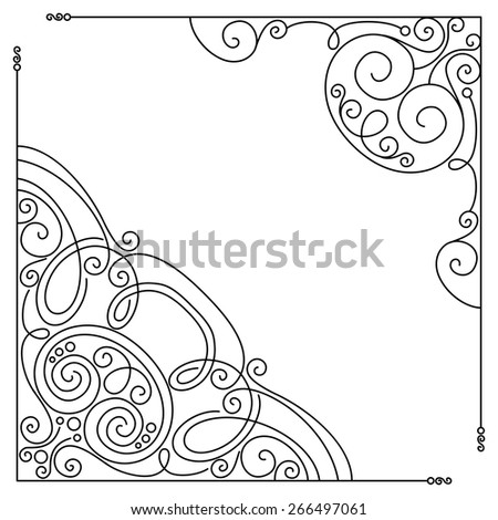 Vector Set of Vintage Template with Ornate Lace Corners. Hand Drawn Borders in Trendy Linear Style. Wedding Decor - stock vector