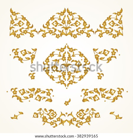 Vector set of vintage vignettes in Eastern style. Ornate element for design and place for text. Oriental illustration for wedding invitations, birthday and greeting cards. Traditional golden decor. - stock vector