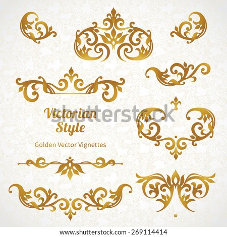 Vector set vintage vignettes victorian style stock vector vector set of vintage vignettes in victorian style ornate element for design and place for stopboris Choice Image