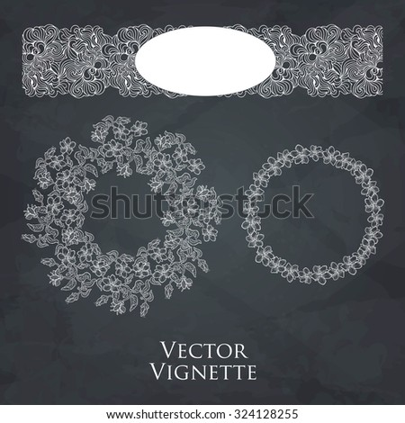 Vector set of vintage vignettes in Victorian style. Ornate element for design. Ornamental pattern for wedding invitations, birthday and greeting cards. Set of vignettes and decoration for pages. - stock vector