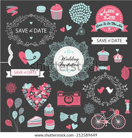 vector set of vintage wedding design elements, invitation, decorative elements - stock vector