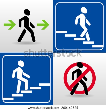 vector set of walking man silhouettes. passage allowed. passage prohibited. descent down the stairs. climbing stairs up. - stock vector