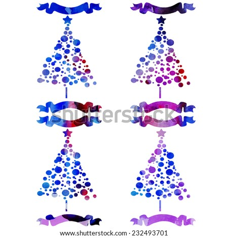 vector set of watercolor Christmas trees with ribbons - stock vector