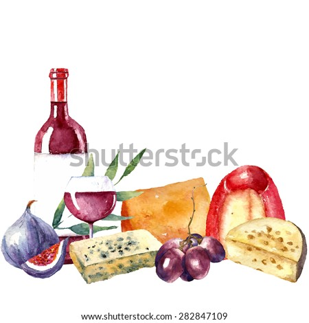 Vector set of watercolor food illustration. Grapes, cheese, fig, bottle of red wine and a glass of wine are in the set. - stock vector